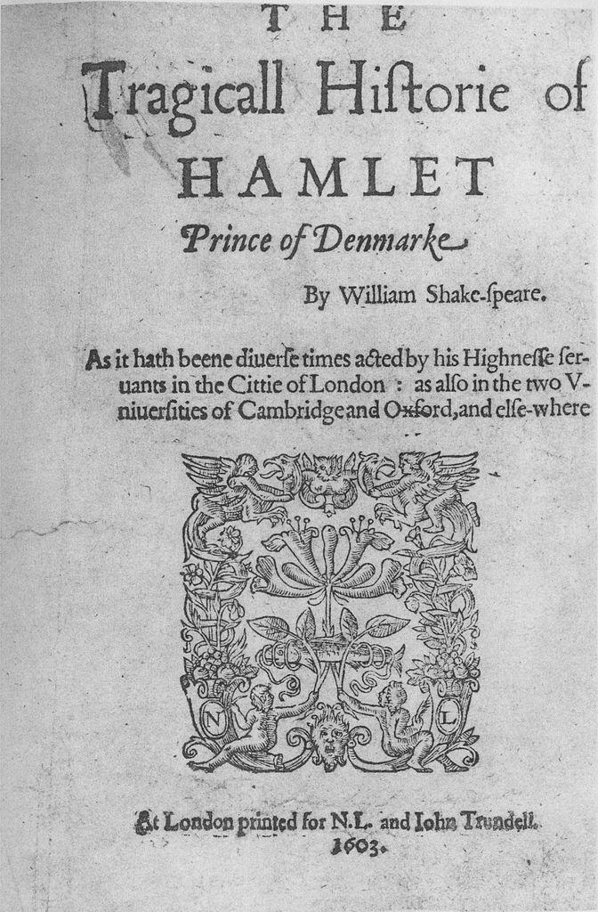 Перевод «Трагической истории Гамлета, принца Датского. Первое кварто» Андрея Корчевского