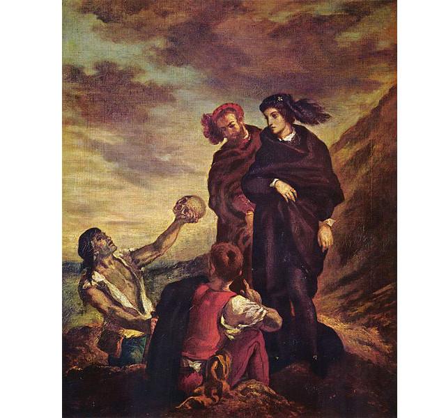 Гамлет и Горацио на кладбище. Картина Эжена Делакруа (Eugène Delacroix), 1839 г.